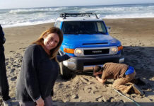 Heidi Krause stuck in sand