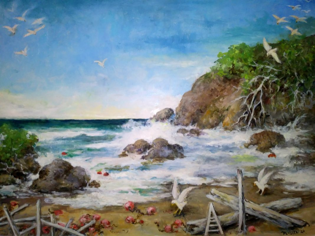 Oil seascape painting by Maude Wanker