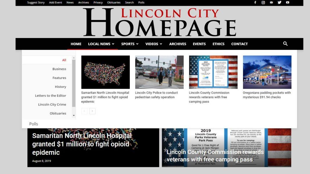 Lincoln City Homepage Mega Menus