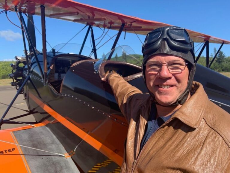Biplane soars through space and time