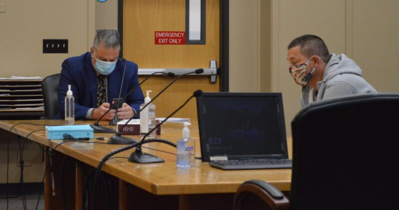 Saranchuk with his attorney in court Monday. (Photo by Rick Beasley)