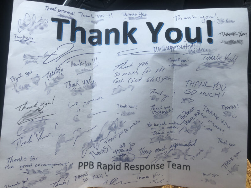 Portland Police Thank you